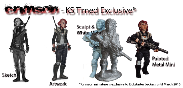 The KS Timed Exclusive, Crimson. Here you can see the evolution of the idea through to the final miniature. We've got 9 more to do!