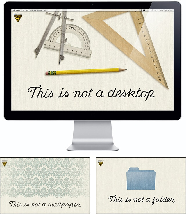 """Wallpapers based on Magritte's """"The Treachery of Images""""."""