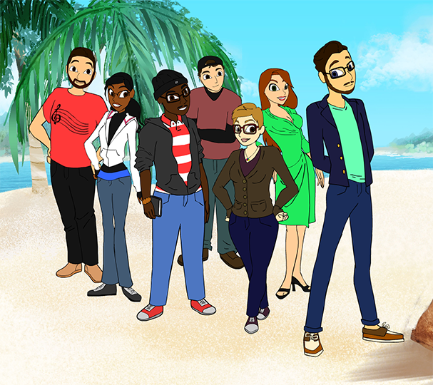 Our team as animated characters