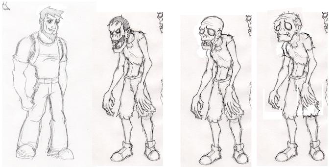 Hero / Zombie comparison.