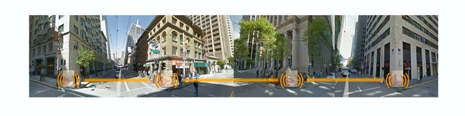 A busy intersection in the Financial District of SF is one designated Soundscape site.