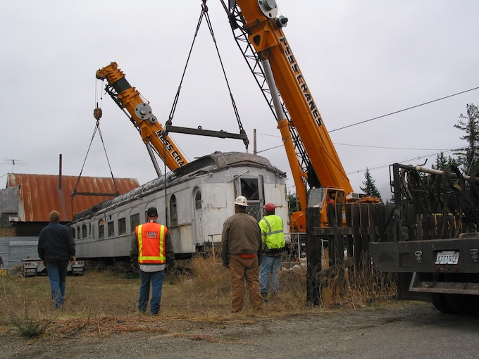 Picking the 47 ton car at Easton from where it sat for the past 50 years.