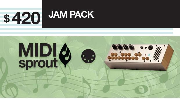 MIDI Sprout 1.0 + Critter & Guitari Pocket Piano MIDI + MIDI Cable. Plug your plant into the MIDI Sprout and into your Pocket Piano MIDI and YOU HAVE COSMIC MUSIC!
