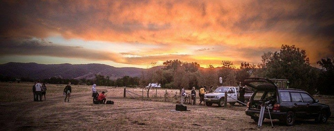 The crew of Crushed on location in Mudgee.