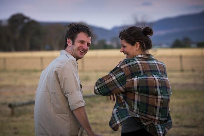 Aaron Glenane (Jesse) and Sarah Bishop (Ellia) on location.
