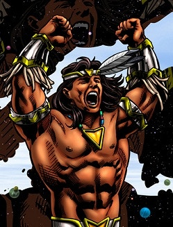 In his youth Omega was the original leader of the Good Champions and is now the leader of a distant civilization from the constellation Cetus.  Omega's Cosmic War Dance remains the set-up for his famous finisher, the TOMAHAWK THRUST.