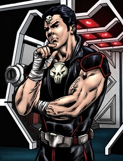 Evil incarnate, Thantos is the leader of the Galaxian Villains. A former tag-team partner of Star Warrior, Thantos' need for power and conquest led him to form the group of Evil Wrestlers.  Thantos finishes his opponents with the deadly MASTERLOCK.