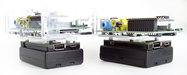 Pi mounted on PiUPS using mounting kit (mount kit works with or without a case)