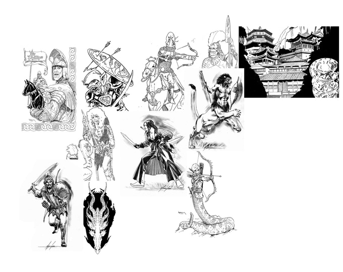 Composite of a few of the drawings in the game.