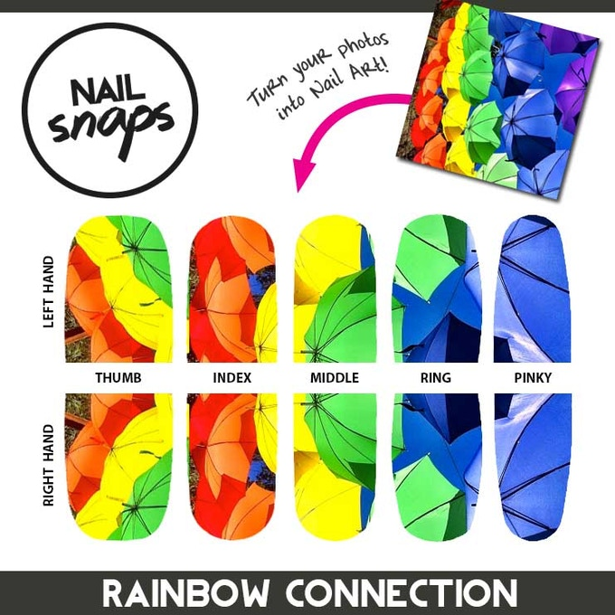 A rainbow of upside-down umbrellas decorated our CP+B supper party. This prototype reward is perfect for the next Muppet Movie or a Pride Festival. NailSnaps supports all walks of life, color, and love.