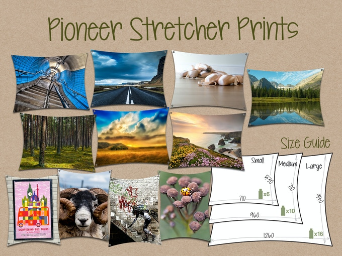 Selection of off-the-shelf Pioneer Prints with size guide - click to see more designs