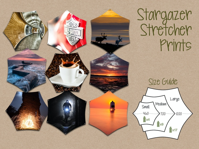 Selection of off-the-shelf Stargazer Prints with size guide - click to see more designs
