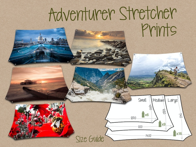 Selection of off-the-shelf Adventurer Prints with size guide - click to see more designs
