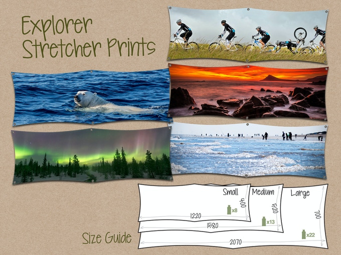Selection of off-the-shelf Explorer Prints with size guide - click to see more designs