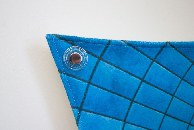 Close up of recyclable plastic eyelet