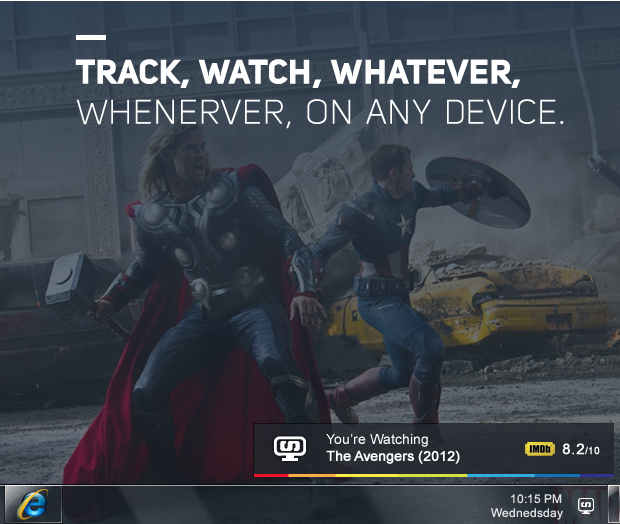 Simkl™ TV Tracker popup showing successfully detected movie on a PC