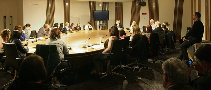 Young people from Forfar join the Cross Party Group