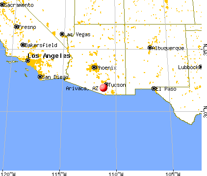Map showing location of Arivaca, Arizona