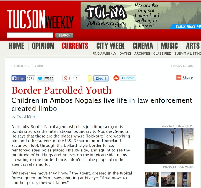 Newspaper story about young people living along the Arizona-Mexico border