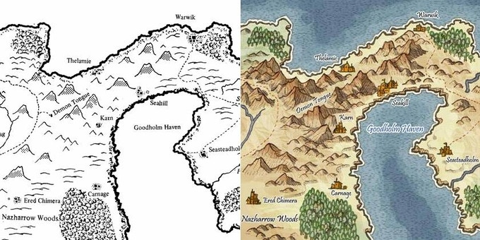 Left: Original Campaign Map; Right: Artist's rendering