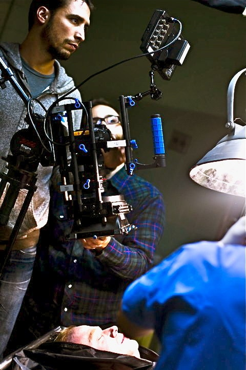 Cinematographer David Newbert on the set of KEY