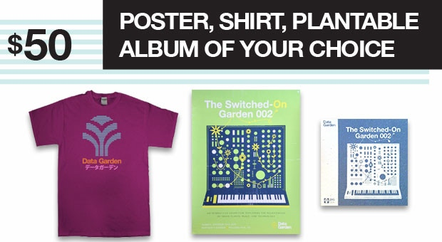 Your choice of one of four t-shirts + one of 2 posters and one of 12 plantable albums!