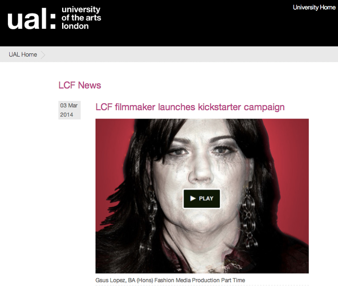 This campaign announced in 'University of the Arts London' Official BLOG