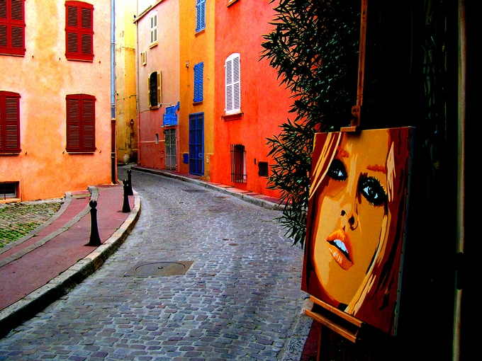 "A street in St. Tropez - recognize the ""siren of the 60's""?"