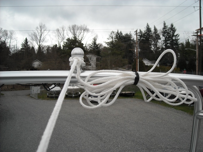 Comes with custom tow rope with connection points at 50, 60, and 70 feet and a velcro wrap to keep excess rope out of your way.