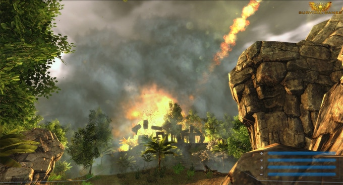 A meteor obliterating a structure (In-game screenshot)