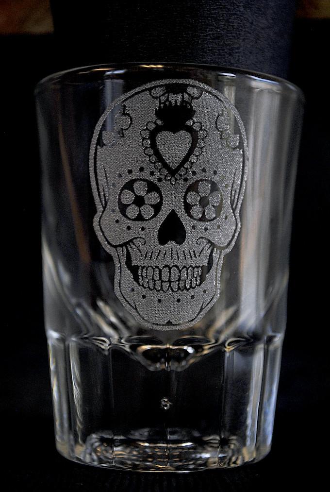 Sugar Skull Shot Glass - 2 oz. capacity, faceted base, custom engraved