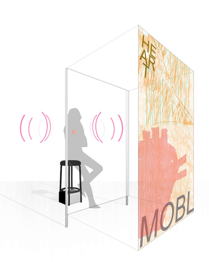Large-scale transparent screens will serve as visual beacons & informational displays, designate a stage for the performer & signify a semi-permeable membrane between private & public.