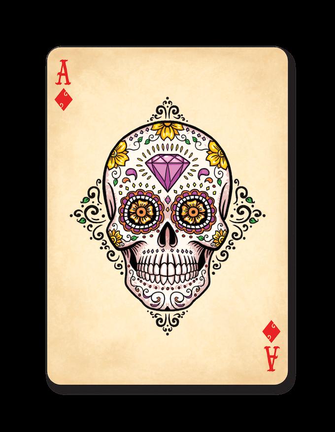 Sugar Skull Ace of Diamonds