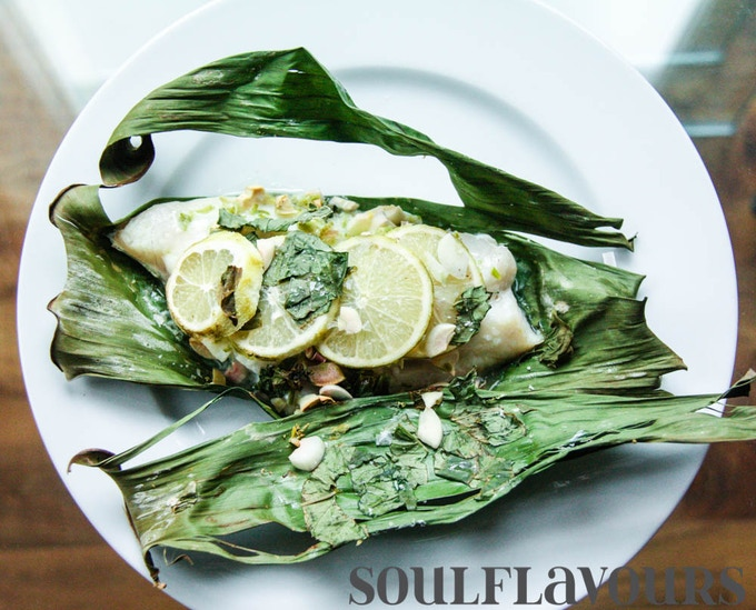Oven baked fish in banana leaf