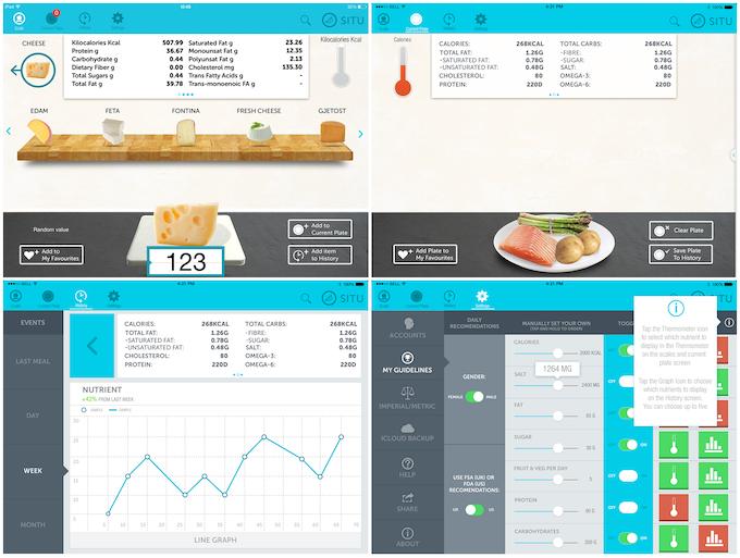 Screenshots from SITU app beta. Clockwise from upper left: Scale screen, Current Plate screen, History screen, Settings screen