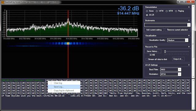 "SeeDeR playing back pre-recorded SkyCube ""telemetry tweet"""