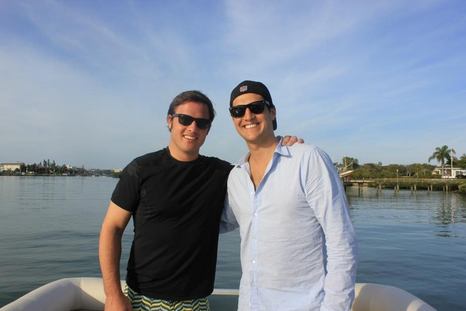 My brother Christian and I on the water...yes, we're wearing boat shoes!