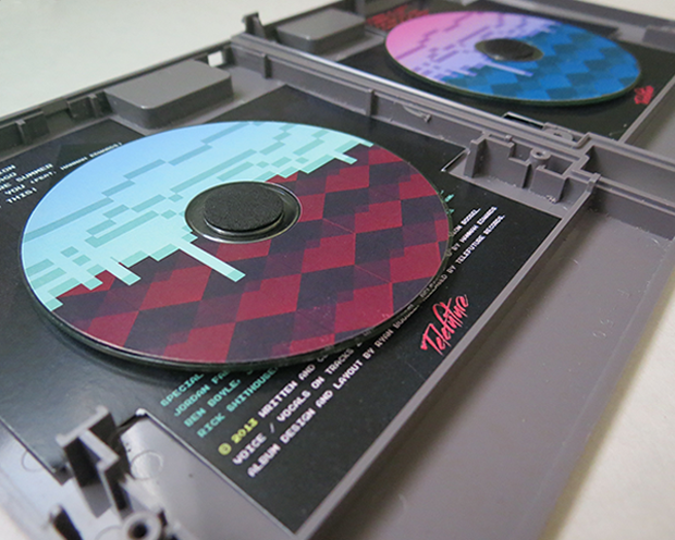"""Arcade High's """"Pixel Passion"""" CD set in NES cartridge packaging"""