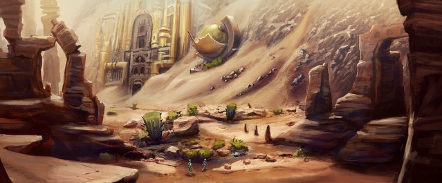 Concept art from the Burning Desert - click for highres