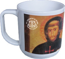 Commemorative mug with the reproduction of the portrait of St. Francis by Margaritone d'Arezzo (1262-1305)