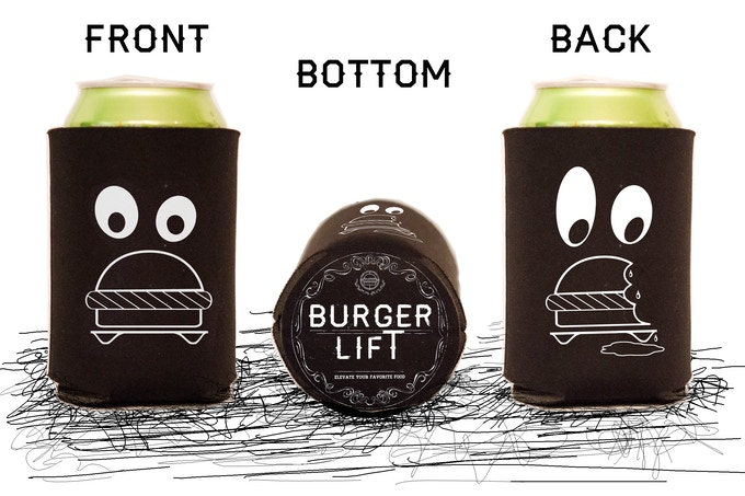 Burger Lift Koozies! (printed not on one, but THREE sides!!)