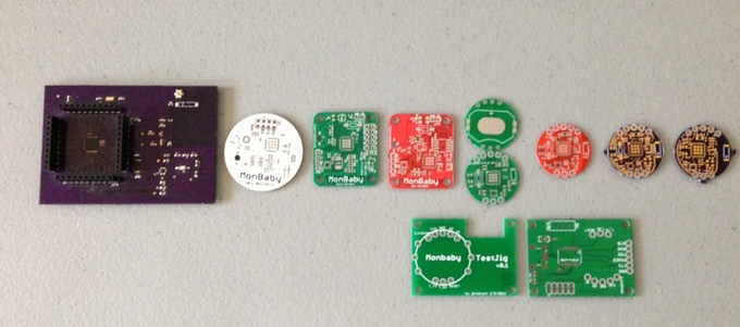 A lineup of generations of PCB prototypes we developed over 2 years