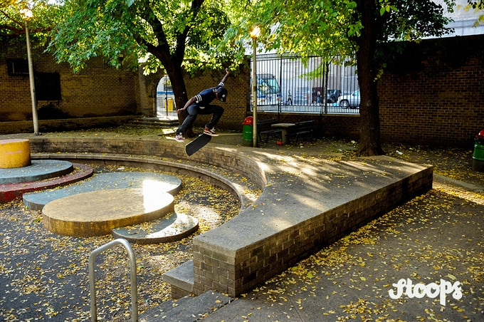Dave Willis - Ollie up, backside flip. Manhattan. Photo by Allen Ying.