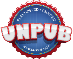 Pay Dirt is a distinguished alumn of the Unpub Program:  a series of private and public play test events held each year to help desgners present, hone and polish their game designs with the gaming public as well as board game production professionals.