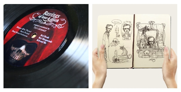 """Picture of the """"vinyl with original soundtrack"""" and """"David sketchbook"""""""