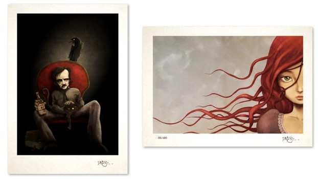 """Picture of the giclée prints """"The Master or Macabre"""" & """"Annabel Lee"""""""