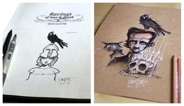 """Examples of the """"original sketch drawing"""" in the front of the book and the """"original color drawing""""."""