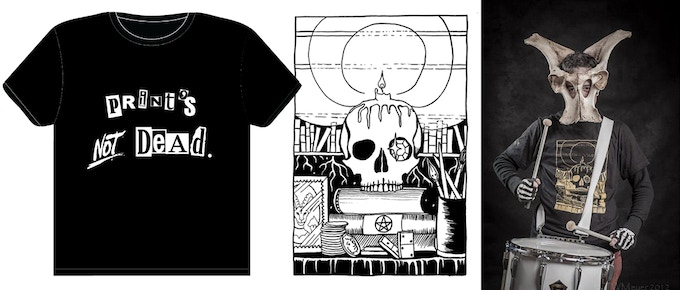 ^ $18 rewards: T-SHIRTS!! From left: 'Print's NOT Dead' punk Tee; ace of bones design; 'Ace of Bones' gold ink on black tee in action (does not include human).