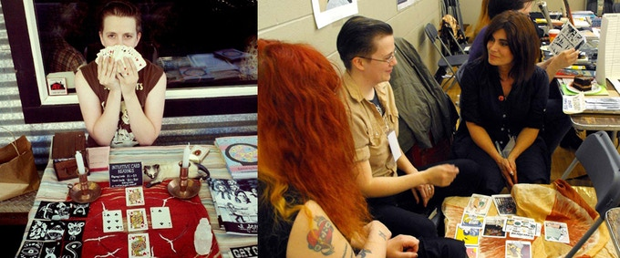 $50 reward. A reading from moi! From left: Annie Murphy reads playing cards; Nikki and Annie give Phoebe Gloeckner a Tarot reading at C.A.K.E., Chicago 2013.