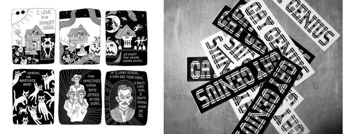 """^ $4 rewards: Left, """"Hungry House"""" sample. Right, Gay Genius stickers"""